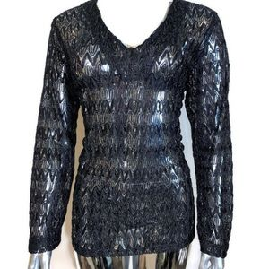 ✨NWOT✨ Black Shimmer Lace Casual Blouse